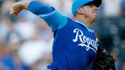 <p>               Kansas City Royals starting pitcher Heath Fillmyer throws during the first inning of the team's baseball game against the Cleveland Indians on Saturday, Aug. 25, 2018, in Kansas City, Mo. (AP Photo/Charlie Riedel)             </p>