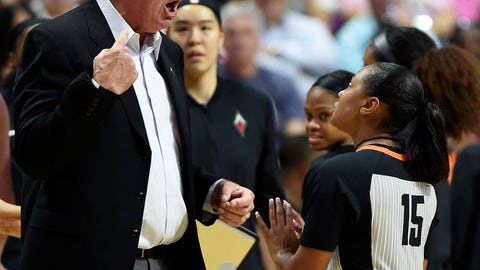 <p>               FILE - In this Sunday, Aug. 5, 2018, file photo, Las Vegas Aces head coach Bill Laimbeer, left, offers his opinion on a call to official Fatou Cissoko-Stevens during the first half of WNBA basketball game action against the Connecticut Sun in Uncasville, Conn. The WNBA has ruled that Las Vegas will forfeit its game against Washington that was canceled Friday night, Aug. 4, 20018,  when the Aces players decided not to play because of concerns about their health and safety after 26 hours of travel.(Sean D. Elliot/The Day via AP, File)             </p>