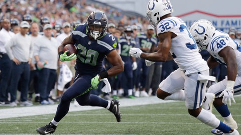 <p>               FILE - In this Aug. 9, 2018, file photo, Seattle Seahawks running back Rashaad Penny (20) rushes past Indianapolis Colts defensive back T.J. Green (32) during the first half of an NFL football preseason game in Seattle. The addition of new offensive coordinator Brian Schottenheimer and the first-round draft pick of Penny only reinforced head coach Pete Carroll's determination that Seattle had gone away too much from its offensive principles and needs to return to running the ball more. (AP Photo/Elaine Thompson, file)             </p>