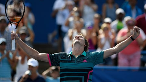 <p>               FILE - In this Aug. 5, 2018, file photo, Alexander Zverev, of Germany, celebrates after he defeated Alex de Minaur, of Australia, in the men's finals at the Citi Open tennis tournament, in Washington.  Zverev is seeded No. 4 at Flushing Meadows, where play begins Monday, and considered the likeliest member of the latest generation of tennis pros to break through at this U.S. Open.(AP Photo/Nick Wass, File)             </p>