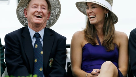 <p>               FILE - In this July 13, 2013, file photo, tennis great Martina Hingis, of Switzerland, laughs with Hall of Famer Rod Laver, of Australia, during her enshrinement into the International Tennis Hall of Fame in Newport, R.I. Hingis figures she wouldn't have needed any help from fans to earn her spot in the International Tennis Hall of Fame. Still, she likes the idea that folks around the world now will have a say in who gets elected. (AP Photo/Elise Amendola, File)             </p>