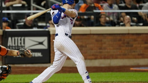 <p>               New York Mets' Jeff McNeil follows through on an RBI double during the eighth inning of a baseball game against the San Francisco Giants Tuesday, Aug. 21, 2018, in New York. The Mets won 6-3. (AP Photo/Frank Franklin II)             </p>
