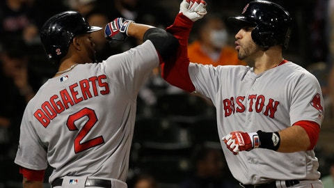 <p>               Boston Red Sox's J.D. Martinez, right, celebrates a three-run home run against the Chicago White Sox with teammate Xander Bogaerts during the ninth inning of a baseball game Thursday, Aug. 30, 2018, in Chicago. (AP Photo/Jim Young)             </p>