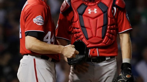 <p>               Washington Nationals relief pitcher Ryan Madson, left, reacts as he listens to catcher Matt Wieters during the ninth inning of a baseball game against the Chicago Cubs, Sunday, Aug. 12, 2018, in Chicago. The Cubs won 4-3. (AP Photo/Nam Y. Huh)             </p>
