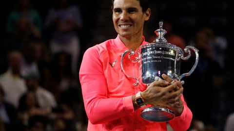 <p>               FILE - In this Sept. 10, 2017, file photo, Rafael Nadal, of Spain, holds up the championship trophy after defeating Kevin Anderson, of South Africa, in the men's singles final of the U.S. Open tennis tournament in New York. Nadal is the men's No. 1 seed at this year's U.S. Open, which starts Monday.  (AP Photo/Andres Kudack, File)             </p>