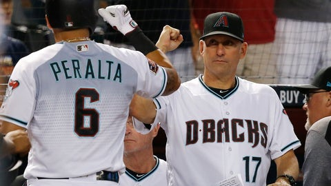 <p>               Arizona Diamondbacks' David Peralta (6) celebrates his two-run home run against the Los Angeles Angels with manager Torey Lovullo (17) during the first inning of a baseball game, Tuesday, Aug. 21, 2018, in Phoenix. (AP Photo/Ross D. Franklin)             </p>