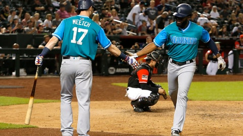 <p>               Seattle Mariners' Denard Span celebrates with Mitch Haniger (17) after hitting a solo home run against the Arizona Diamondbacks during the 10th inning of a baseball game Saturday, Aug. 25, 2018, in Phoenix. (AP Photo/Rick Scuteri)             </p>