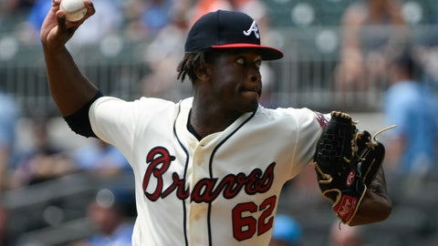<p>               Atlanta Braves' Touki Toussaint pitches against the Miami Marlins during the first inning of the first game in a baseball double header Monday, Aug. 13, 2018, in Atlanta. (AP Photo/John Amis)             </p>