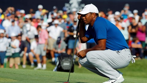 <p>               Tiger Woods looks at his putt on the 18th green during the third round of the PGA Championship golf tournament at Bellerive Country Club, Saturday, Aug. 11, 2018, in St. Louis. (AP Photo/Brynn Anderson)             </p>