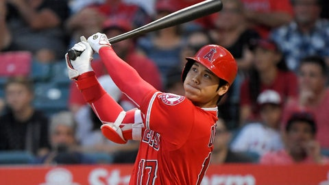 <p>               CORRECTS TO THREE-RUN, INSTEAD OF SOLO, HOME RUN  - Los Angeles Angels' Shohei Ohtani, of Japan, watches his three-run home run during the first inning of the team's baseball game against the Detroit Tigers on Tuesday, Aug. 7, 2018, in Anaheim, Calif. (AP Photo/Mark J. Terrill)             </p>