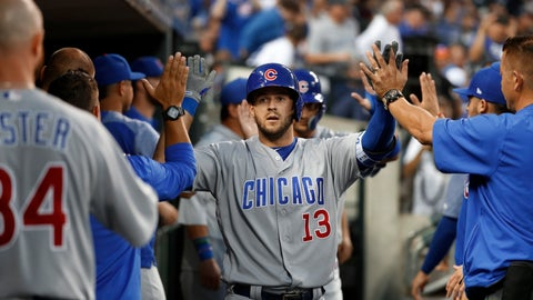 <p>               Chicago Cubs' David Bote (13) celebrates his two-run home run against the Detroit Tigers during the fifth inning of a baseball game in Detroit, Wednesday, Aug. 22, 2018. (AP Photo/Paul Sancya)             </p>