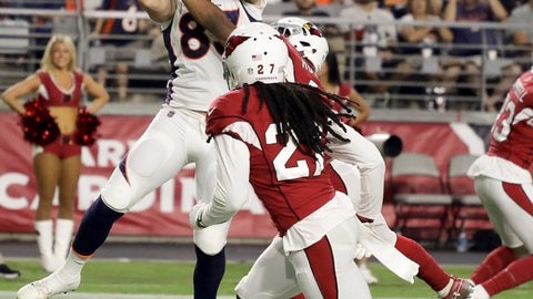 <p>               Denver Broncos tight end Matt LaCosse scores against the Arizona Cardinals during the second half of a preseason NFL football game Thursday, Aug. 30, 2018, in Glendale, Ariz. (AP Photo/Rick Scuteri)             </p>