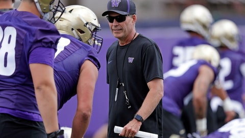 <p>               File- This Aug. 3, 2018, file photo shows Washington head coach Chris Petersen walking on the field during a team football practice in Seattle. Petersen's Huskies are the preseason favorites to win the Pac-12 with their roster full of NFL-caliber talent, but the entire league is looking for an improved season after going 1-8 in bowl games last winter. (AP Photo/Elaine Thompson, File)             </p>