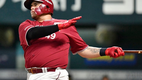 <p>               In this July 28, 2018, photo, Rakuten Eagles' Japhet Amador of Mexico hits a solo home run against the SoftBank Hawks in the seventh inning of their regular season baseball game in Fukuoka, southern Japan. Amador was suspended for six months by Nippon Professional Baseball (NPB) for a doping violation. The 31-year-old slugger, who has been out since Aug. 3 with abdominal pain, tested positive for the banned substances chlorthalidone and furosemide, NPB said on Thursday, Aug. 9, 2018. (Kyodo News via AP)             </p>