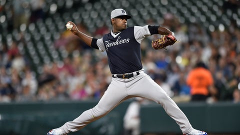 <p>               New York Yankees pitcher Luis Severino delivers against the Baltimore Orioles during the first inning of a baseball game Sunday, Aug. 26, 2018, in Baltimore. (AP Photo/Gail Burton)             </p>