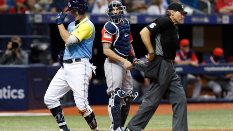 <p>               Tampa Bay Rays' Willy Adames, left, celebrates his two-run home run in front Boston Red Sox catcher Blake Swihart during the fourth inning of a baseball game on Friday, Aug. 24, 2018, in St. Petersburg, Fla. (AP Photo/Scott Audette)             </p>