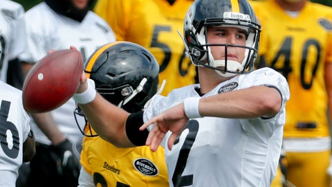 <p>               Pittsburgh Steelers quarterback Mason Rudolph (2) looks to pass as defensive back Nat Berhe pressures in a goal-line drill at NFL football training camp in Latrobe, Pa., Tuesday, Aug. 7, 2018. Rookie quarterback Rudolph gets a chance to show how far he's come since being drafted in April when the Steelers open the preseason in Philadelphia on Thursday. Rudolph is in a fight for a backup spot behind Ben Roethlisberger.(AP Photo/Keith Srakocic)             </p>