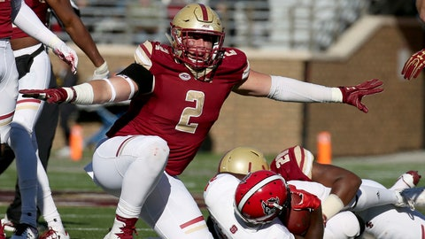 <p>               FILE - In this Nov. 11, 2017, file photo, Boston College defensive end Zach Allen (2) celebrates a defensive stop against North Carolina State during the first half of an NCAA college football game in Boston. In college football's year of the defensive lineman, Allen is not getting the publicity of Clemson's four potential first-round draft picks, the latest Bosa harassing quarterbacks at Ohio State or Houston's Ed Oliver. With an obsessive dedication to an early-to-bed-early-too-rise routine and strict diet of George Foreman Grill meals, Allen has put himself on the same level as all those former five-star prospects (AP Photo/Mary Schwalm, File)             </p>