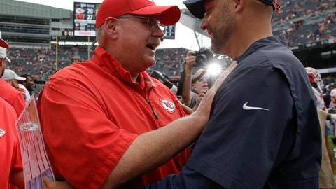 <p>               Chicago Bears head coach Matt Nagy talks to Kansas City Chiefs head coach Andy Reid after a preseason NFL football game Saturday, Aug. 25, 2018, in Chicago. The Bears won 27-20. (AP Photo/Nam Y. Huh)             </p>