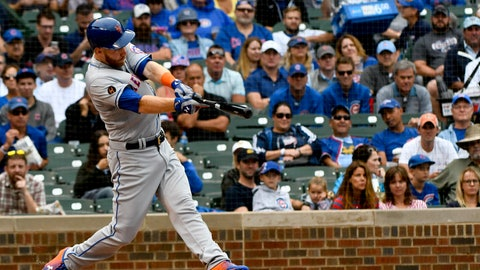 <p>               New York Mets' Todd Frazier (21) hits a grand slam during the first inning of a baseball game against the Chicago Cubs on Wednesday, Aug. 29, 2018, in Chicago. (AP Photo/Matt Marton)             </p>