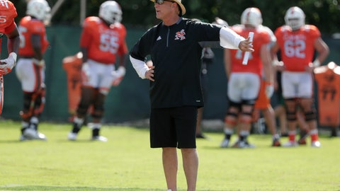 <p>               In this Monday, Aug. 6, 2018, photo, Miami head coach Mark Richt watches during NCAA college football practice, in Coral Gables, Fla. Miami is entering the 2018 season with newfound belief and usual expectations. The Hurricanes are the preseason pick to successfully defend their ACC Coastal Division title. (AP Photo/Lynne Sladky)             </p>