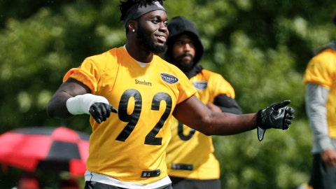 "<p>               Pittsburgh Steelers linebacker Ola Adeniyi (92) warms up at practice during NFL football training camp in Latrobe, Pa., Monday, Aug. 13, 2018. The Steelers gave the undrafted rookie outside linebacker Olasunkanmi (""Ola"") Adeniyi a conspicuous number: 92, the one that belonged to longtime star James Harrison. The 20-year-old laughs off comparisons to Harrison, but he did have a sack in the preseason opener.(AP Photo/Keith Srakocic)             </p>"