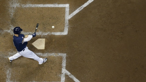 <p>               Milwaukee Brewers' Travis Shaw hits a two-run home run during the sixth inning of a baseball game against the Cincinnati Reds Monday, Aug. 20, 2018, in Milwaukee. (AP Photo/Morry Gash)             </p>