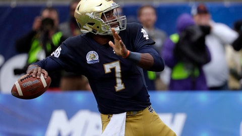 "<p>               FILE - In this Jan. 1, 2018, file photo, Notre Dame quarterback Brandon Wimbush (7) throws a pass against LSU during the first half of the Citrus Bowl NCAA college football game,  in Orlando, Fla. Wimbush won't need to look over his shoulder Saturday night when No. 12 Notre Dame hosts No. 14 Michigan in the season opener for both teams. Coach Brian Kelly reiterated the senior is his No. 1 quarterback. ""Brandon's our starter,"" Kelly said Tuesday, Aug. 28, 2018.(AP Photo/John Raoux, File)             </p>"