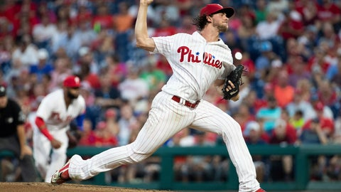 <p>               Philadelphia Phillies starting pitcher Aaron Nola throws during the second inning of a baseball game against the Washington Nationals, Tuesday, Aug. 28, 2018, in Philadelphia. (AP Photo/Chris Szagola)             </p>