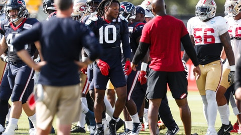 <p>               Houston Texans wide receiver DeAndre Hopkins (10) emerges from an altercation with San Francisco 49ers defensive back Jimmie Ward, not shown, during a joint NFL football practice in Houston, Wednesday, Aug. 15, 2018. (Brett Coomer/Houston Chronicle via AP)             </p>