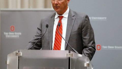 <p>               Ohio State football coach Urban Meyer makes a statement during a news conference in Columbus, Ohio, Wednesday, Aug. 22, 2018. Ohio State suspended Meyer on Wednesday for three games for mishandling domestic violence accusations, punishing one of the sport's most prominent leaders for keeping an assistant on staff for several years after the coach's wife accused him of abuse. Athletic director Gene Smith was suspended from Aug. 31 through Sept. 16. (AP Photo/Paul Vernon)             </p>