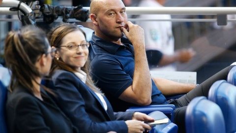 <p>               Miami Marlins CEO Derek Jeter, right, looks on during the first inning of a baseball game between the Marlins and the St. Louis Cardinals, Monday, Aug. 6, 2018, in Miami. (AP Photo/Wilfredo Lee)             </p>
