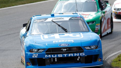 <p>               Austin Cindric (22) leads Elliott Sadler (1) through a corner during the NASCAR Xfinity series auto race at Mid Ohio Sports Car Course in Lexington, OH, Saturday, Aug. 11, 2018. (AP Photo/Tom E. Puskar)             </p>