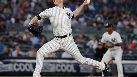 <p>               New York Yankees' J.A. Happ delivers a pitch during the first inning of a baseball game against the Tampa Bay Rays Tuesday, Aug. 14, 2018, in New York. (AP Photo/Frank Franklin II)             </p>