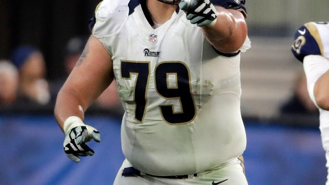 <p>               FILE - In this Dec. 11, 2016 file photo Los Angeles Rams offensive tackle Rob Havenstein (79) points to a player during the first half of an NFL football game against the Atlanta Falcons in Los Angeles. Havenstein on Monday, Aug. 20, 2018 agreed to terms of a four-year contract extension through the 2022 season. (AP Photo/Rick Scuteri, file)             </p>
