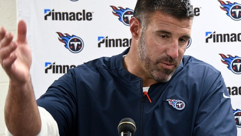 <p>               Tennessee Titans coach Mike Vrabel takes questions after the team's NFL preseason football game against the Tennessee Titans, Saturday, Aug. 25, 2018, in Pittsburgh. The Steelers won 16-6. (AP Photo/Don Wright)             </p>