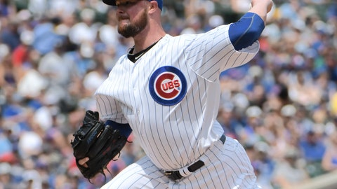 <p>               Chicago Cubs starting pitcher Jon Lester (34) throws the ball against the San Diego Padres during the first inning of a baseball game, Sunday, Aug. 5, 2018, in Chicago. (AP Photo/David Banks)             </p>