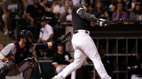 <p>               Chicago White Sox's Daniel Palka hits a home run against the Cleveland Indians during the ninth inning of a baseball game Friday, Aug. 10, 2018, in Chicago. The White Sox won 1-0. (AP Photo/Nam Y. Huh)             </p>