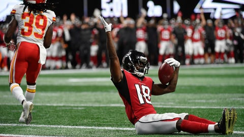 <p>               Atlanta Falcons wide receiver Calvin Ridley (18) celebrates his touchdown catch against the Kansas City Chiefs during the first half of an NFL preseason football game, Friday, Aug. 17, 2018, in Atlanta. (AP Photo/John Amis)             </p>