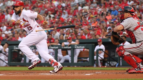 <p>               St. Louis Cardinals' Matt Carpenter (13) drops his bat after bunting as Washington Nationals catcher Matt Wieters looks on in the first inning of a baseball game, Monday, Aug. 13, 2018, in St. Louis. (AP Photo/Tom Gannam)             </p>