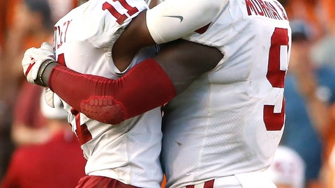<p>               FILE - In this Oct. 14, 2017, file photo, Oklahoma linebacker Kenneth Murray (9) and cornerback Parnell Motley (11) celebrate a defensive stop against Texas during the second half of an NCAA college football game in Dallas. No. 7 Oklahoma's defense will be tested immediately when it faces Lane Kiffin's Florida Atlantic squad. (AP Photo/Ron Jenkins, File)             </p>