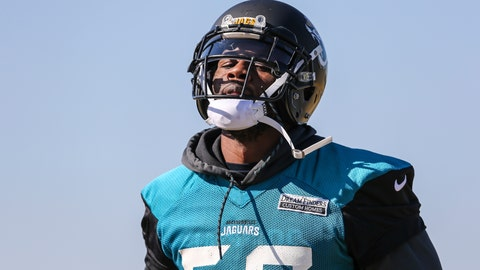 <p>               FILE - In this Jan. 19, 2018, file photo, Jacksonville Jaguars defensive end Dante Fowler (56) runs a drill during NFL football practice in Jacksonville, Fla. Fowler and cornerback Jalen Ramsey are back from suspension. But neither player is talking about what got them banned for a week or how they spent their time away. They were not available during an open locker room session Monday, Aug. 20, 2018. The team says both players will answer questions following Jacksonville's preseason game against the Atlanta Falcons on Saturday night. (AP Photo/Gary McCullough, File)             </p>