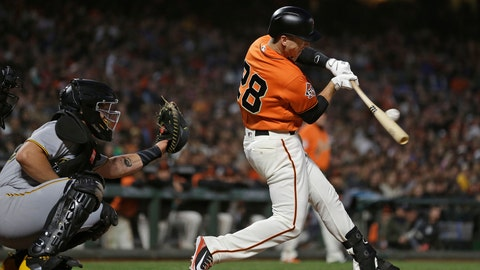 <p>               San Francisco Giants' Buster Posey hits a two-run single off Pittsburgh Pirates starting pitcher Clay Holmes during the third inning of a baseball game Friday, Aug. 10, 2018, in San Francisco. (AP Photo/Eric Risberg)             </p>
