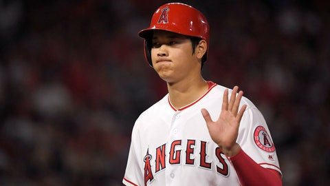 <p>               Los Angeles Angels' Shohei Ohtani, of Japan, waves to fans after being intentionally walked during the sixth inning of a baseball game against the Detroit Tigers, Monday, Aug. 6, 2018, in Anaheim, Calif. (AP Photo/Mark J. Terrill)             </p>