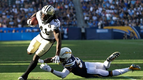 <p>               New Orleans Saints running back Alvin Kamara gets away from Los Angeles Chargers defensive back Derwin James during the first half of an NFL preseason football game Saturday, Aug. 25, 2018, in Carson, Calif. (AP Photo/Marcio Jose Sanchez)             </p>