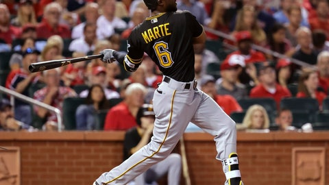 <p>               Pittsburgh Pirates' Starling Marte watches his RBI single to left against the St. Louis Cardinals during the fifth inning of a baseball game Wednesday, Aug. 29, 2018, in St. Louis. (AP Photo/Tim Spyers)             </p>