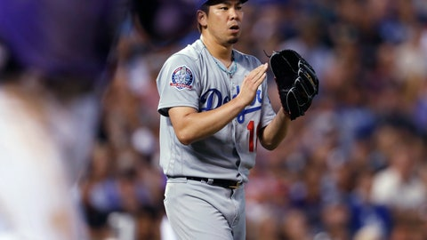 <p>               Los Angeles Dodgers starting pitcher Kenta Maeda claps after getting Colorado Rockies' Carlos Gonzalez to ground out to end the fourth inning of a baseball game Friday, Aug. 10, 2018, in Denver. (AP Photo/David Zalubowski)             </p>
