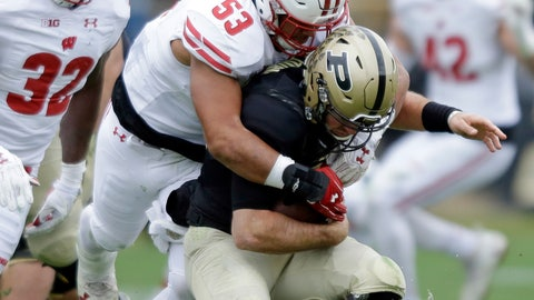 <p>               FILE- This Nov. 19, 2016, file photo shows Wisconsin linebacker T.J. Edwards (53) sacking Purdue quarterback David Blough (11) during the second half of an NCAA college football game in West Lafayette, Ind. The fourth-ranked Wisconsin Badgers' defense is a work in progress as the season begins with a mix of stars up the middle and untested replacements on the edges. Preseason All-American linebacker T.J. Edwards says that he is excited by the possibilities, (AP Photo/Michael Conroy, File)             </p>