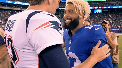 <p>               New England Patriots quarterback Tom Brady (12) talks with New York Giants wide receiver Odell Beckham (13) at the end of an NFL preseason football game, Thursday, Aug. 30, 2018, in East Rutherford. The Patriots won 17-12. (AP Photo/Bill Kostroun)             </p>