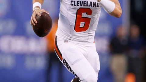 <p>               Cleveland Browns quarterback Baker Mayfield (6) looks to pass during the first half of a preseason NFL football game against the New York Giants, Thursday, Aug. 9, 2018, in East Rutherford, N.J. (AP Photo/Adam Hunger)             </p>